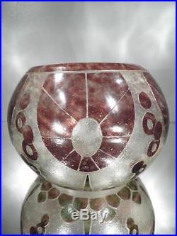 1910-20 Le Verre Français Vase Annelés En Pte De Verre Gravé Art Déco