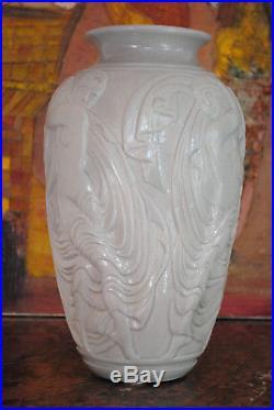 1920/1930 Mougin Conde Rare Vase Gres Aux Danseuses Dancer Ceramique Art Deco