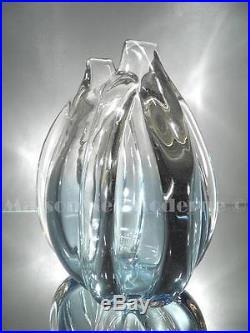 1920-30 Ch. Schneider Vase Godrons En Verre Ouvragé À Chaud Art Déco