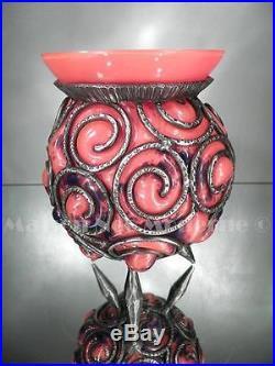 1920-30 Degué Compiègne Vase En Fer Forgé Et Pte De Verre Art Déco