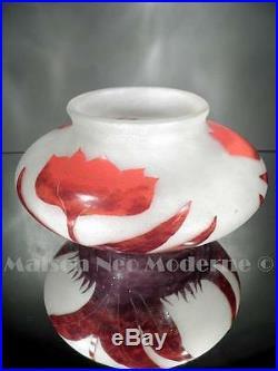 1920-30 Degué Compiègne Vase Tulipes En Pte De Verre Gravé Art Déco