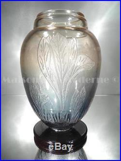 1920-30 Le Verre Français Charder Vase Algues Verre Gravé À L'acide Art Déco