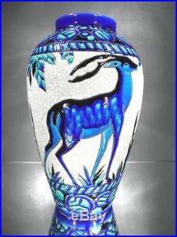 1925 Ch. Catteau Keramis Boch Grand Vase Daims En Faïence Fine Art Déco