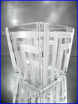 1930 J. Luce Paris Vase Géométrique En Verre Gravé Au Sable Art Déco