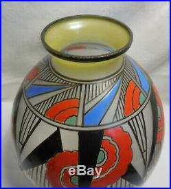 1930 Vase En Verre Emaille Art Deco Motifs Geometriques Signe Joma