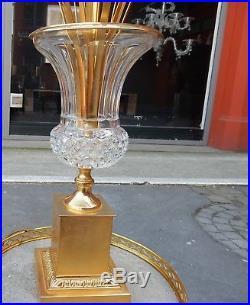1950-70' Paire de Lampes Vases Medicis en Cristal et Bronze Maison Charles