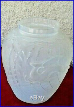 1 Vase Etling Opalescent Africaniste En Verre Moulé Pressé Art Deco 1930