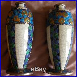 2 grands vase Emaux de Longwy Modèle Art Déco années 30 Fleurs stylisées