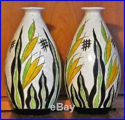 2 vases Keramis Art Déco en céramique à motifs floraux cachet de La Louvière