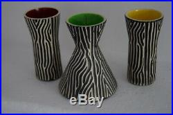 3 vases céramique Faïence Design Saint Clément vintage années 50 60 70 Zèbre
