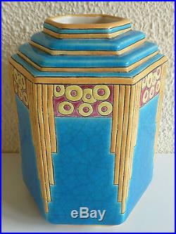 A2191 @ Rare Vase Art Deco A 6 Pans En Longwy
