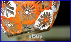 ADRIEN MAZOYER. Vase boule à col étranglé, en verre à décor de fleurs émaillées