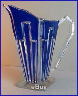 ART DECO 1930 vase pichet en cristal décor bleu vintage