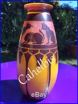 ART DECO Rare vase decor chats Schneider/ le Verre Français 1922/24