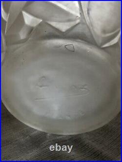 ART DECO Vase en verre pressé moulé ARRERS FRANCE
