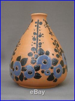 A Voir! Jean Leclerc Superbe Vase Ceramique Art Deco, Décor Floral, Vers 1925