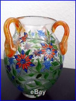 Adrien Mazoyer Vase En Verre Émaillé Époque Application De 4 Anses Art Déco 1920
