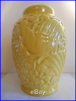 Ancien Grand Vase Art Deco Ceramique Saint Clement France N° 889 Modele Pigeon