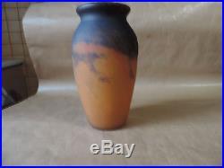 Ancien Grand Vase Art Déco Pate de verre Signé Muller Frères Lunéville