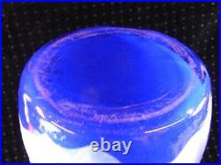 Ancien Grand Vase Cristal Pate De Verre Degage A L Acide Fleur Bleu Cobalt