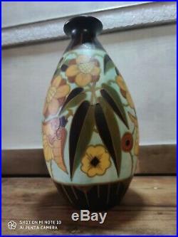 Ancien VASE FAÏENCE céramique KERAMIS Charles CATTEAU frères boch art deco D4847