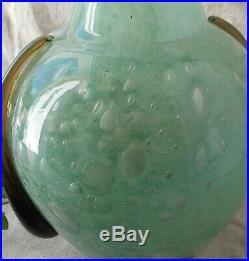 Ancien Vase Art Deco En Verre Bulle Signe Schneider Annee 20
