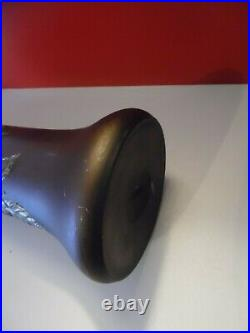Ancien Vase Art Nouveau En Verre Réhaussé A L'étain No Daum Nancy Art Déco 40 cm