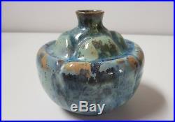 Ancien Vase Boule Alfred Renoleau En Grès Décor Cristallisation Art Déco