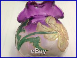 Ancien Vase Bourse Emaille Legras Art Nouveau Art Deco