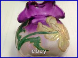 Ancien Vase Bourse Verre Emaille Legras Montjoye Violine Art Nouveau Deco 1900