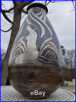 Ancien Vase Dinanderie Art Deco 1920 Signé André Desgranges Édition Darby
