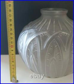 Ancien Vase Émaillé Verre Moulé Dépoli Art Déco 20/30s signé OREOR