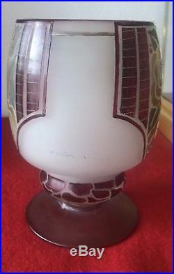 Ancien Vase En Pte De Verre Signé Moda Art Deco