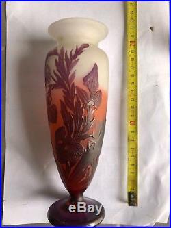 Ancien Vase Gallé, dégagé à L'acide, art déco