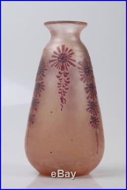 Ancien Vase Legras Rubis Degagé A L'acide Art Deco Old Ruby Cameo Glass