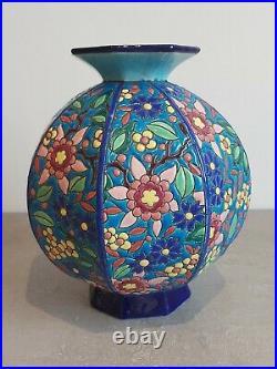 Ancien Vase Octogonal Art Deco Emaux Longwy