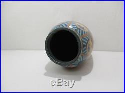 Ancien Vase Revernay Digoin Sarreguemines Art Deco Ceramique Emaillee