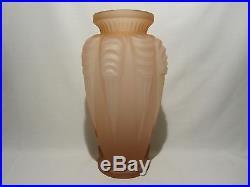Ancien Vase Verre Rose Signe F Spaivet 1930 Art Deco Old Glass Vase Signed Rose