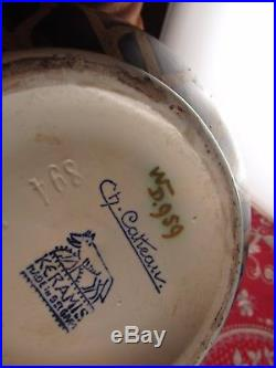 Ancien gros vase boule keramis ch catteau art deco numeroté