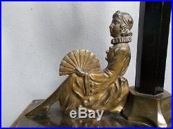 Ancien lampe veilleuse art deco sculpture femme eventail & tulipe en verre vase