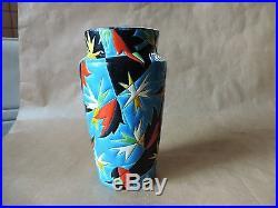 Ancien rare Vase en émaux de Longwy signé N°1047 Longwy Fugue France Art déco