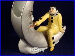 Ancien rare soliflore vase Pierrot Lune Art Déco 1920 numéroté porcelaine