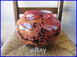 Ancien superbe vase Daum # Nancy France en verre doublé et moucheté Art Déco
