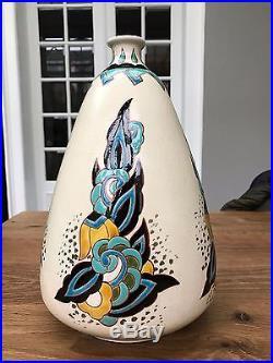 Ancien & superbe vase art deco craquelé émaux orchies 801