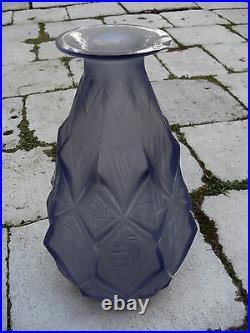 Ancien vase art déco en verre opalescent signé SABINO FRANCE 1930 à restaurer