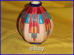 Ancien vase en émaux de longwy, art déco, craquelé, H. 13cm, faience
