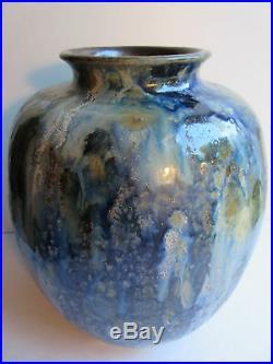 Ancien vase ovoïde ART DECO grès émaillé et flammé bleu signé R. GUERIN 17HS
