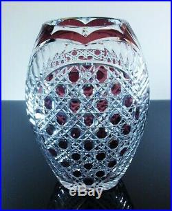 Ancienne Vase Cristal Couleur Violet Taille Pierres Diamant Baccarat Art Déco