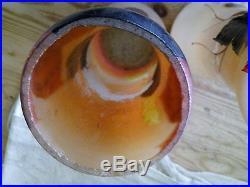 Ancienne paire de vases en verre émaillés art déco signés Joma monogramme A. V