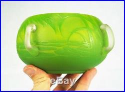 André DELATTE Rare Vase Coupe Avec Applications Pâte de Verre Art Déco Gallé